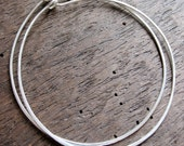 Sterling Silver Extra Large Hammered Hoops in Bright or Antiqued Finish - 1 pair