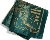 "Circuit Board pocket square. Silkscreened ""Short Circuit"" handkerchief. Microfiber hanky. Choose emerald green and more!"