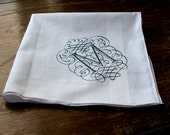 Initial handkerchief. One custom initial white pocket square. Filigree font. Single letter, 100% cotton hanky. Choose A-Z and print color.