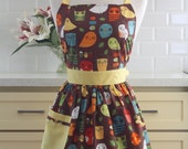 Apron Retro Owls Brown CHLOE