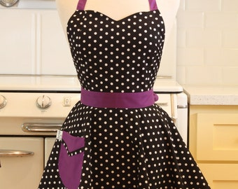 Retro Apron Polka Dot Black White Purple BELLA Full Apron