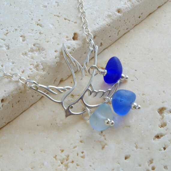 RESERVED FOR DIANNE - Genuine Sea Glass Necklace - Sterling Silver Bird - Light Blue, Cornflower Blue & Cobalt Blue