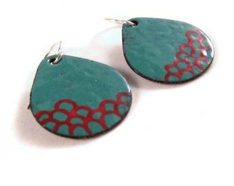 hills and boulders enamel earrings / spruce evergreen blue, scarlet red