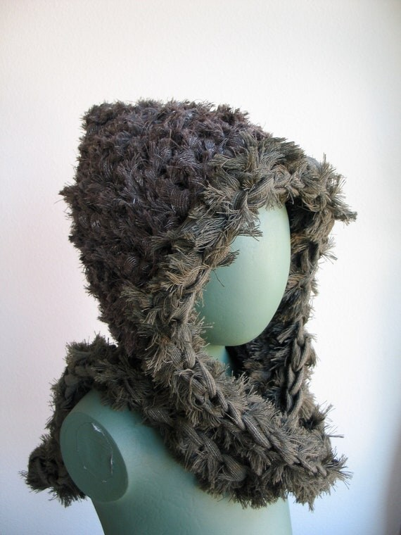 Fuzzy Elf Hood in Brown trimmed in Green it's a Hat and Scarf