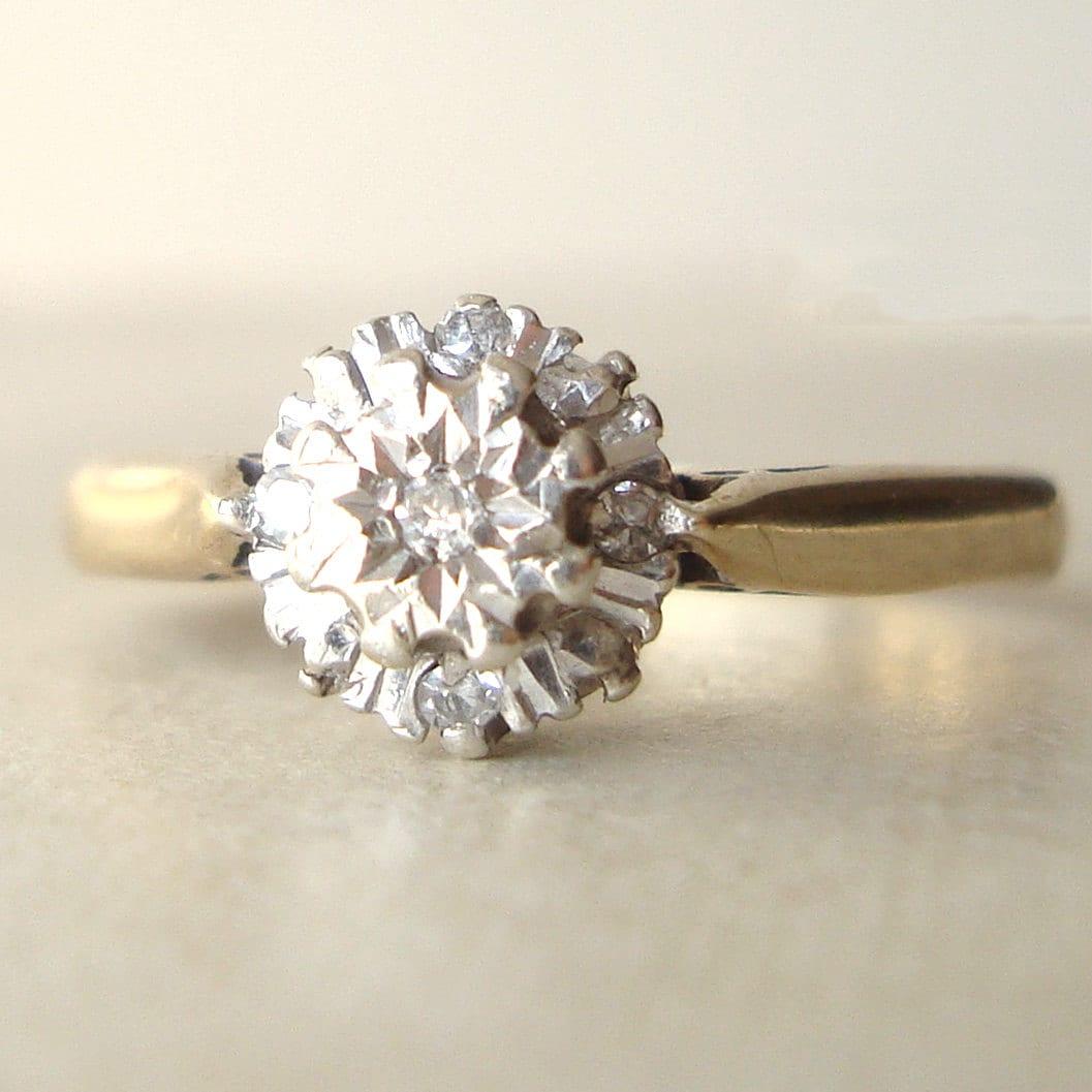 Vintage Engagement Ring 9k Gold Diamond Flower Cluster Ring
