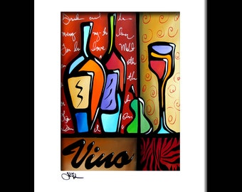 Abstract wine painting Art modern pop print Contemporary colorful bar decor by Fidostudio