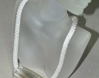 Ice Queen ... Bead Crochet Necklace . Silver Lined Beads . Chunky Glass Focal . OOAK .. Bold . Modern . Winter Accessory
