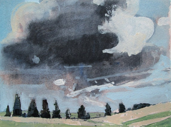 Wandering Cloud, Back Acres, Original Landscape Painting on Paper, Canada