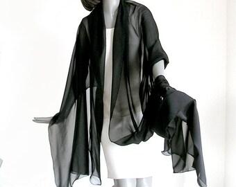 """Large Black Sheer Shawl, Plus Size Coverup, Silk Chiffon Wide Wrap, 100% Silk Chiffon 10mm 25"""" X 90"""". Tall, L XL, XXL, Handmade, Artinsilk."""