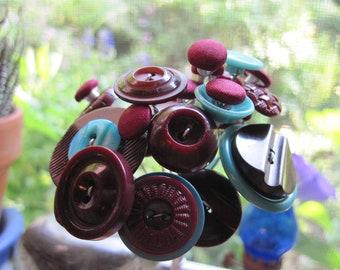 Button Flower Bouquet...Posy Turquoise Satin Wine/r5
