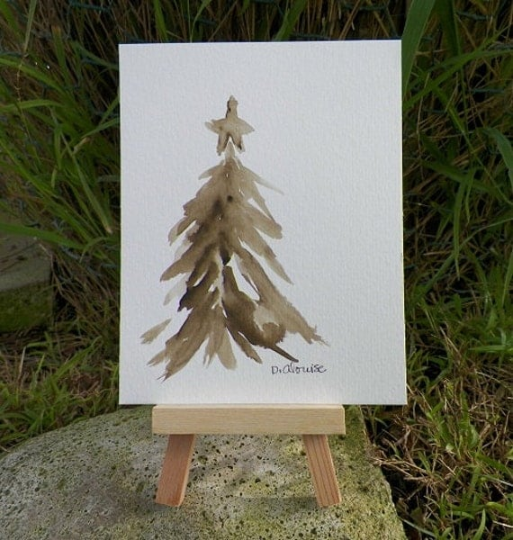 Watercolour Christmas Tree: Christmas Tree Sepia Watercolor Art Winter Holiday Original