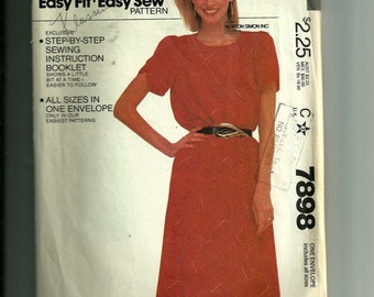 Vintage McCall's Misses Dress Pattern 7898