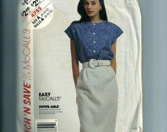 Vintage McCall's Top and Skirt Pattern 4785