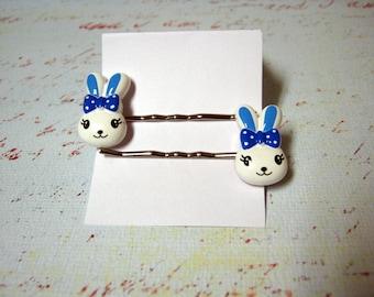 Blue Bowed bunnies pins