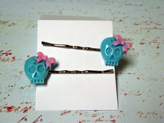 Blue for You Skull Pins