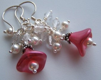 Earrings - Sparkly -n- Pink - Pretty Dangles