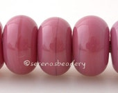 Lampwork Spacer Bead OPAL PINK RASPBERRY Glossy & Matte Handmade Donut Rondelle Glass - taneres