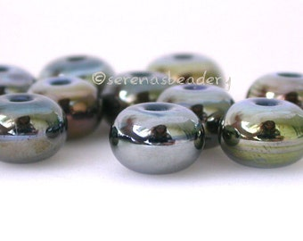Lampwork Spacer Beads IRIS BLUE LUSTER Mini Handmade Glass Donut Rondelle, sra by taneres metallic silver