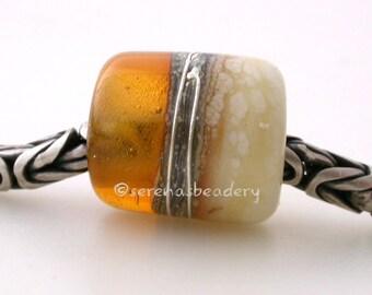 AMBER IVORY glossy European Charm Lampwork handmade Glass Bead - taneres sra tube brown topaz