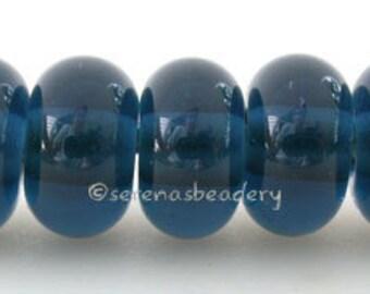 Lampwork Spacer Glass Beads 5 DARK DENIM BLUE Glossy & Matte Handmade Donut Rondelle