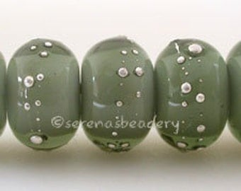 DARK Steel GREY White heart with fine SILVER Droplets - Handmade Glass Lampwork Bead- taneres