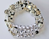 Black White Ivory Pearl Glass Crystal Metal Eclectic beaded bracelet Single strand or multi strand Personalize w name word or quote