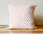 Dotty Linen Pillow in Orange and White- 16 Inches - Made to Order