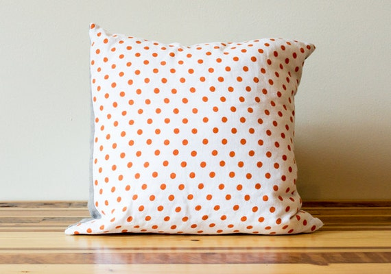 Dotty Linen Pillow in Orange and White- 16 Inches - Last One HUGE SALE