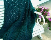 HAND CROCHETED DECORATIVE Afghan Throw in Deep Teal Color