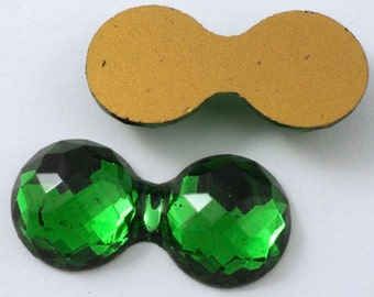 30mm Double Bubble Faceted Green Cabochon #406