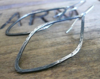 Ombre Tupelo - Handmade. Oxidized, textured sterling silver Earrings