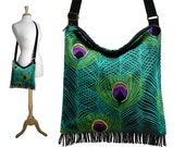 Bohemian Gypsy Fringe Bag Peacock Feather Fabric Cross Body Hobo Purse Boho Sling Bag adjustable strap  teal purple green pink black RTS
