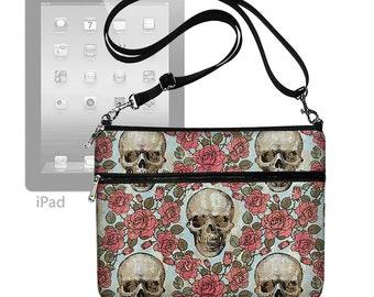 Cute iPad Air 2 Case, iPad Cover,  iPad Sleeve with pocket, iPad Bag Purse with strap, Fits Ipad 4 3 2 1 Skulls Roses goth gothic MTO