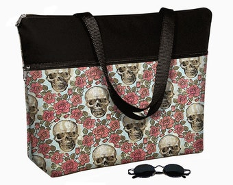 "17 inch Laptop Bag with Straps / Skulls Roses / Laptop Tote Bag / 17"" Laptop Case / Padded / Zippered Top  steampunk red black MTO"