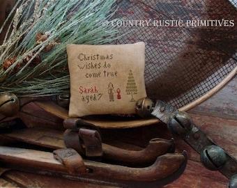 Primitive Christmas Wishes Do Come True Pillow Tuck Cross Stitch E Pattern PDF