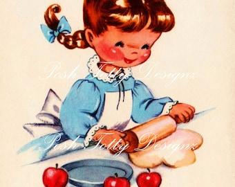 Just Baking 1940s Vintage Digital Greetings Card Download Printable Image (300)