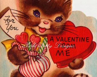 Vintage Bunny With A Box of Candy Valentines Greetings Card Printable Image (337)