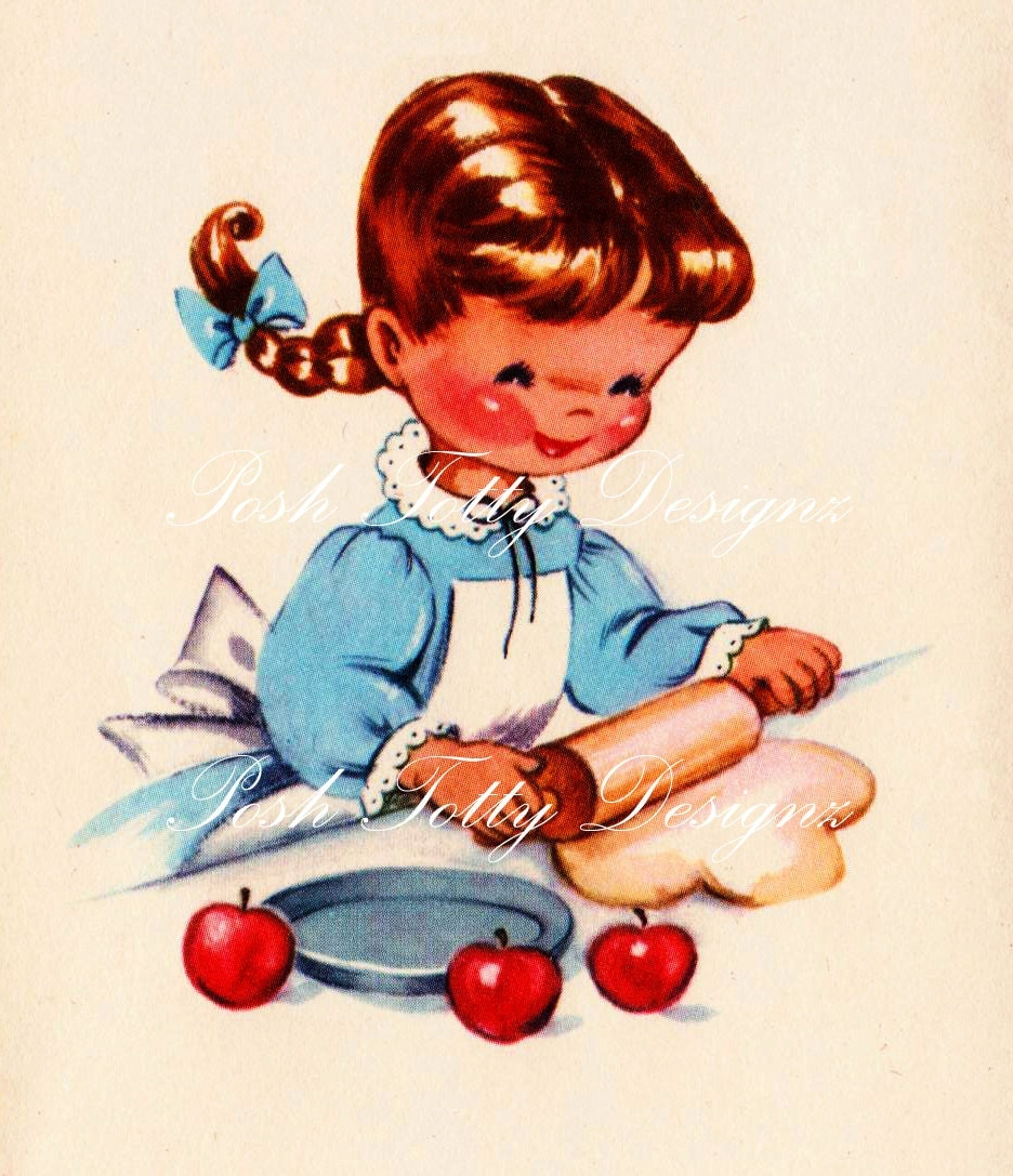 Just Baking 1940s Vintage Digital Greetings Card Download