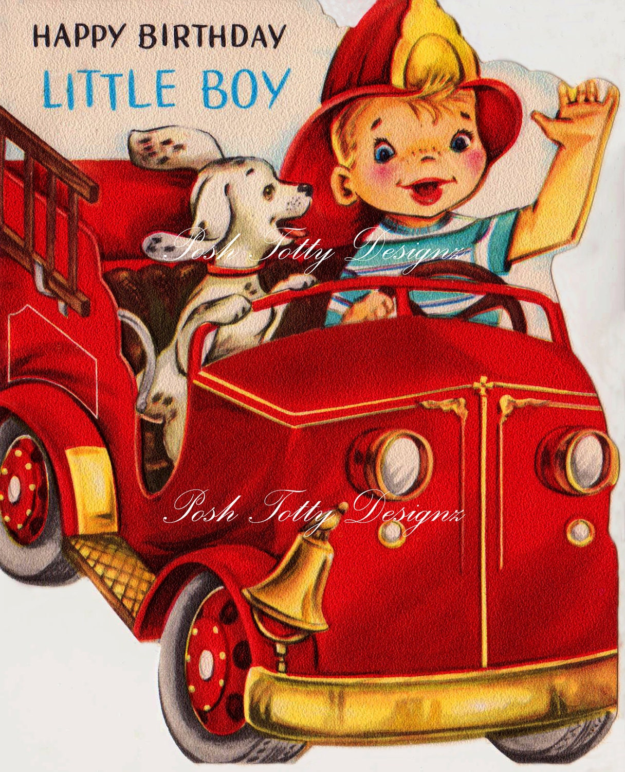 1950s Happy Birthday Little Boy Fire Chief Vintage Greetings