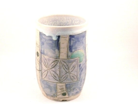 Snowstorm Icy Blue Mug without handle  / Ceramic Coffee cup with trees / holds 14 oz Art Vessel vase toothbrush holder W2 SHIPS TODAY