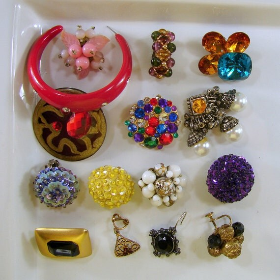 Lot Single Earrings Beaded Rhinestone Recycle Vintage Jewelry Supplies UpCycle Salvage