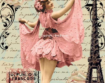 Collage art, digital download, ballerina, pink