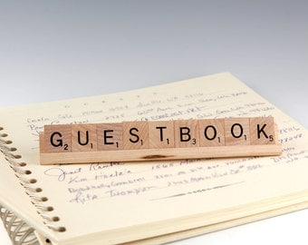GUESTBOOK Scrabble Letters Sign RECYCLED