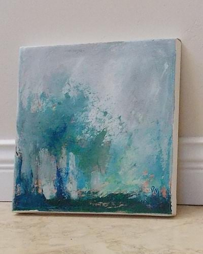 Abstract Painting Trees Acrylic Blue And Grey