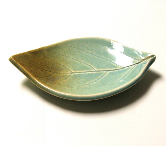 Hand Built Ceramic Plate, Persimmon Leaf