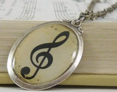 Treble Clef Necklace Music in Elegant Antique silver oval frame