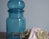 Vintage Belgian Blue Glass Apothecary Jar