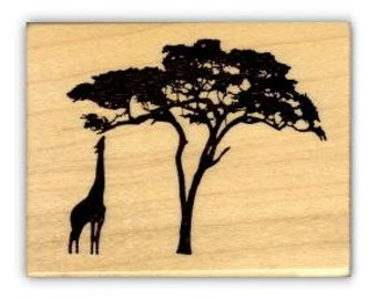 GIRAFFE and ACACIA TREE Silhouette African mounted rubber stamp No.17