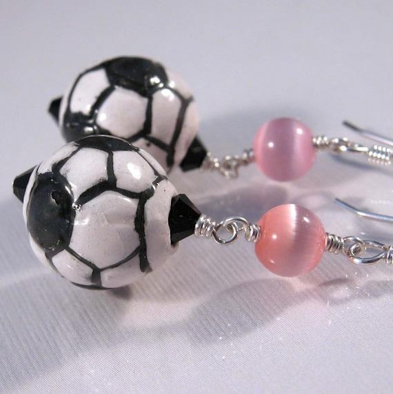 Porcelain soccer ball earrings swarovski, sterling silver - team colors