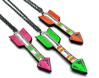 Flourescent Neon Green, Pink and Orange Arrow Pendant Necklace